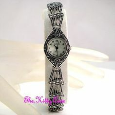 SILVER MOP VINTAGE VICTORIAN DECO FILIGREE FRILL MARQUISE MARCASITE LADIES WATCH