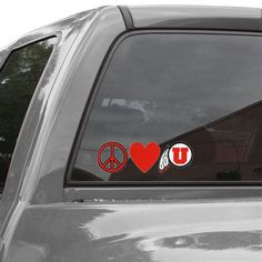 Utah Utes Peace, Love Car Decal