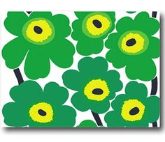 Marimekko greens.  Love.    Home Interior Decor with Marimekko Fabric Unikko Emerald Green Large Wall Hanging