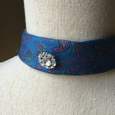 Choker Upcycled Necktie Necktie Necklace Paisley by EntirelyChic
