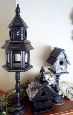 Hobby Lobby& birdhouses are half off this week. Perfect for adding some spring -y-ness to my mantle. I spotted this tall blac. Bird Houses Painted, Bird Houses Diy, Bird Cages, Bird Feeders, Foam Carving, Recycled Crafts, Shabby Chic Decor, Clematis, Terrarium