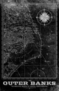 Outer Banks Vintage Remixed Map - Black & White / 18x24 Framed Black