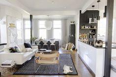 Keittiö, ruokailutila ja olohuone ovat remontin jälkeen yhtä tilaa.