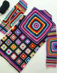 Crochet granny square clothes ganchillo Ideas for 2020 Gilet Crochet, Crochet Cardigan Pattern, Crochet Poncho, Poncho Shawl, Mode Crochet, Crochet Daisy, Crochet Granny, Irish Crochet, Hand Crochet
