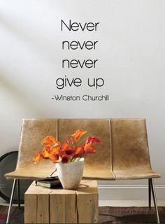 Ge aldrig upp, Winston Churchill, engelska Väggdekal