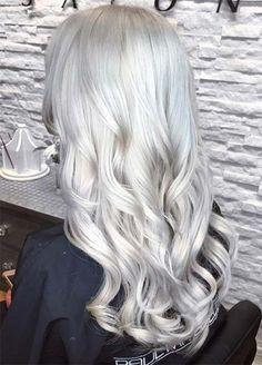 Granny Silver/ Grey Hair Color Ideas: Cascading Silver Curls