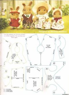 Vbs Crafts, Doll Crafts, Sewing Crafts, Sewing Projects, Diy Clothes Patterns, Doll Dress Patterns, Sewing Patterns, Sylvanian Families, Calico Critters Families