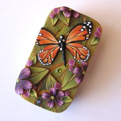 Monarch Butterfly Slide Top Tin Sewing Needle Case by Claybykim, $16.00