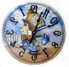 Mad Hatter clock backwards, Alice in Wonderland decor by thewhiterabbitcom on Etsy https://www.etsy.com/listing/198468219/mad-hatter-clock-backwards-alice-in