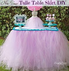 How To Make a Tulle Table Skirt | 101 DIY and Crafts.. Pink Purple Gold Trim