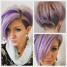 New purple hair and uncdercut with design in back…. #haircolor #haircut… Short Hairstyles For Thick Hair, Funky Hairstyles, Short Hair Cuts, Short Hair Styles, Hairstyles Videos, Pixie Cuts, Summer Hairstyles, Pretty Hairstyles, Look 2018