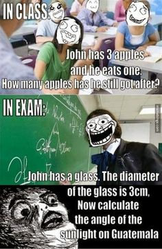 in class and in exam. huge difference