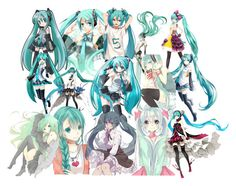 """""""Hatsune Miku collage"""" by attackontitan169 ❤ liked on Polyvore featuring art"""