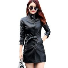 Best price US $46.15  2017 spring autumn new women's leather jacket Slim collar single-breasted leather coat locomotive medium-long female outerwear   . Available latest products: Leather Coat.