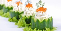 Fresh Cream Cheese With Herbs And Caviar On Cucumber Royalty Free Stock Photo, Pictures, Images And Stock Photography. Snacks Für Party, Appetizers For Party, Cucumber Cups, Tapas, Tiny Food, Party Buffet, Veggie Tray, Xmas Food, Fresh Cream