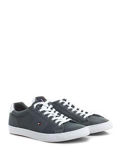 TOMMY HILFIGER - Sneakers - Uomo - Sneaker in tessuto, tessuto forato e pelle con suola in gomma. Tacco 25. - PIOMBO - € 100.00