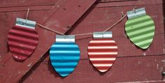 Small barn tin Christmas bulb by amodernvintagehome on Etsy, $9.00