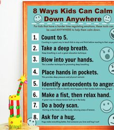 This is a printable poster that you will be able to download in a PDF format, sized for printing at-home on an 8.5 x 11 piece of paper. THIS IS NOT A PHYSICAL PRODUCT. This calm-down anywhere poster is a resource that can be used to help children learn to regulate their emotions,