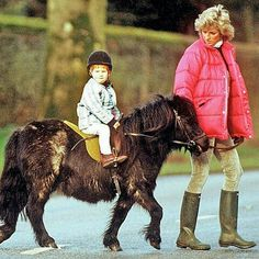 01 January 1988: Prince Harry enjoys a pony ride on Sandringham Estate in Norfolk under the watchful eye of his beloved mother Princess Diana ■ imgrum.org
