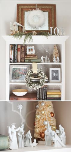Our Holiday Décor Revealed- bookcase styled for christmas with wreaths and origami-style nativity set