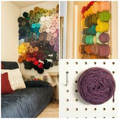 Yarn storage idea for all knitter,spinner,weaver,crochet,arty,wool obsessives out there make your yarn balls a feature not a chore