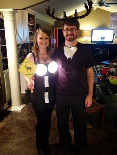 Deer in Headlights Halloween Couples costume #halloween  sc 1 st  Pinterest & Coolest Homemade Deer in Headlights Couple Costume | Pinterest ...
