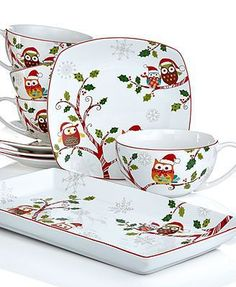 57 Beautiful Christmas Dinnerware Sets: 222 Fifth Holiday Enchanted Woods Christmas Collection I absolutely adore these little owls! Christmas China, Spode Christmas, Christmas Owls, Christmas Dishes, Christmas Kitchen, Christmas Photos, Ireland Christmas, Xmas, Christmas Table Settings