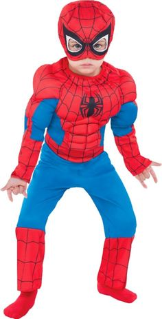 Toddler Boys Classic Spiderman Muscle Costume - Party City