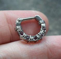 Septum Nose Rings, Nose Piercing Jewelry, Septum Clicker, Dark Purple, Body Jewelry, Fashion Accessories, Gems, Etsy Shop, Steel