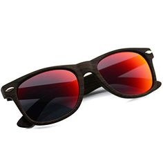 50% OFF SALE PRICE - $9.95 - Faux Wood Reflective Revo Color Lens Horn Rimmed Sunglasses