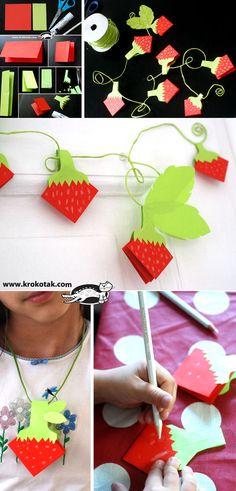 Paper strawberries origami