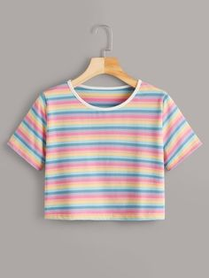 Colorful Stripe Print Ringer Tee - Source by Official_Romwe - Stylish Summer Outfits, Cute Comfy Outfits, Casual Outfits, Middle School Outfits, Rainbow Outfit, Girl Outfits, Fashion Outfits, Crop Top Outfits, Online Shopping Clothes