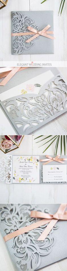 romantic grey laser cut wedding invitation with shimmer blush pink ribbon