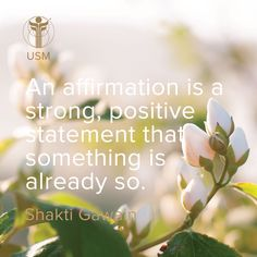 """""""An affirmation is a strong, positive statement that something is already so."""" -Shakti Gawain Quote"""