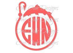 Fish Hook Circle Monogram Frame Cut File SVG by OneOakDesigns