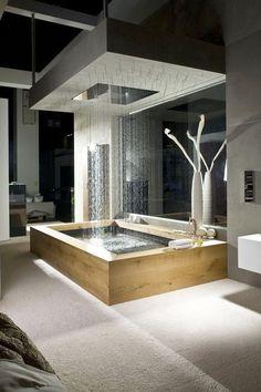 Next level: rain tub.  ✧   #architecture  #bathroom #design #home #house #decor #modern #luxury #penthouse