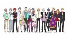 L to R: Futo, Iori, Yusuke, Masaomi, Wataru, Subaru, Louis, Juli, Ema, Natsume, Tsubaki, Azusa, Kaname, Hikaru and Ukyo~