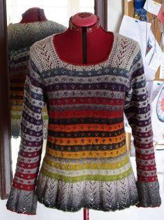 "mama spinnt - knitting pattern ""Autumn Rose"" aus ""Simply Shetland - a bit modified Fair Isle Knitting, Hand Knitting, Knitting Designs, Knitting Projects, Pulls, Lana, Ideias Fashion, Knitwear, Knit Crochet"