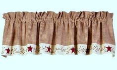 New Primitive Country Burgundy Tan Check Berry Vine Stars Curtain Window Valance | eBay