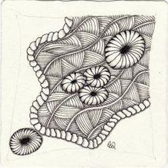 Ein Zentangle aus den Mustern Shattuck, Festune, Twisted Rope,  gezeichnet von Ela Rieger, CZT