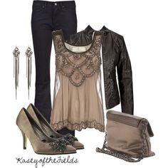 Leather and Crystal (Black embellished mesh vest $55)