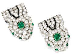 Pair of Platinum, Emerald, Diamond and Onyx Clips, Mauboussin, France, Circa 1930