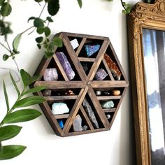 Discover handmade shelving and decor for for your home! Crystal, minerals and other magical, spiritual and meditative tools, all at Stone & Violet. Crystal Shelves, Crystal Wall, Crystal Shop, Crystal Decor, Crystals And Gemstones, Stones And Crystals, Handmade Shelving, Hexagon Shape, Hexagon House