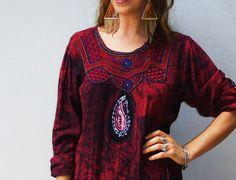 vintage kaftan / oxblood batik Boho hippie by FiregypsyVintage, $72.98