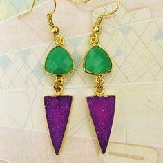 Natural gemstone earrings purple druzy by Sparkazilla on Etsy www.etsy.com/shop/sparkazilla