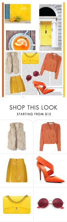"""""""Yellow and Orange"""" by criiss-prdd on Polyvore featuring Oris, Diane Von Furstenberg, Chanel and Ray-Ban"""