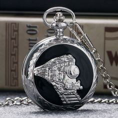 Retro Steampunk Runing Train Quartz Pocket Watch Men Women Vintage Pendant with Fob Chain Birthday Gift Reloj De Bolsillo P990C