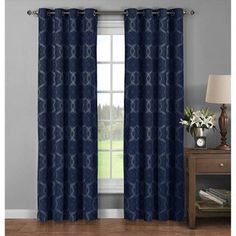 54696af234 Window Elements Avila Printed Cotton 96-inch Extra-wide Grommet Curtain  Panel Pair -