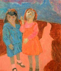 Hans Schwarz (Austrian/British, 1922-2003), Louise and Camille, 2002. Oil on canvas, 73 x 63 cm (28 ½ x 24 ½ in.)