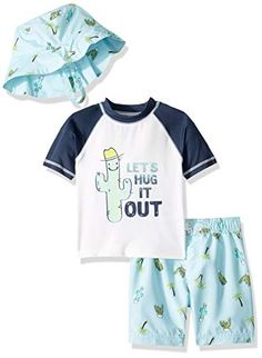 KIKO /& MAX Boys Baby Rashguard and Diaper Cover Swim Set Navy Dog L